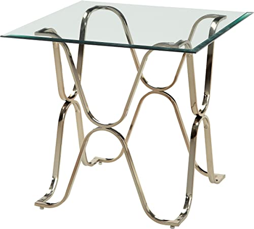 Furniture of America Lexine Curved x-Frame Chrome End Table