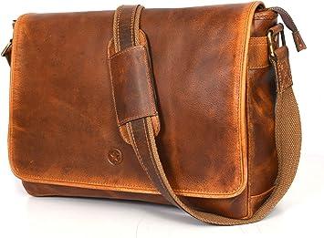 """16/"""" Men/'s Leather Bag Messenger Laptop Shoulder case Cross body Satchel Brown"""