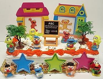 Sesame Street 17 Piece Birthday Cake Topper Set Featuring Elmo Bert Ernie Cookie
