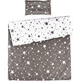 MEJU Twinkle Star 100% Cotton Duvet Cover + Pillowcase Bedding Set with Zipper Closure for Baby Toddler Boys Girls Crib Bed D