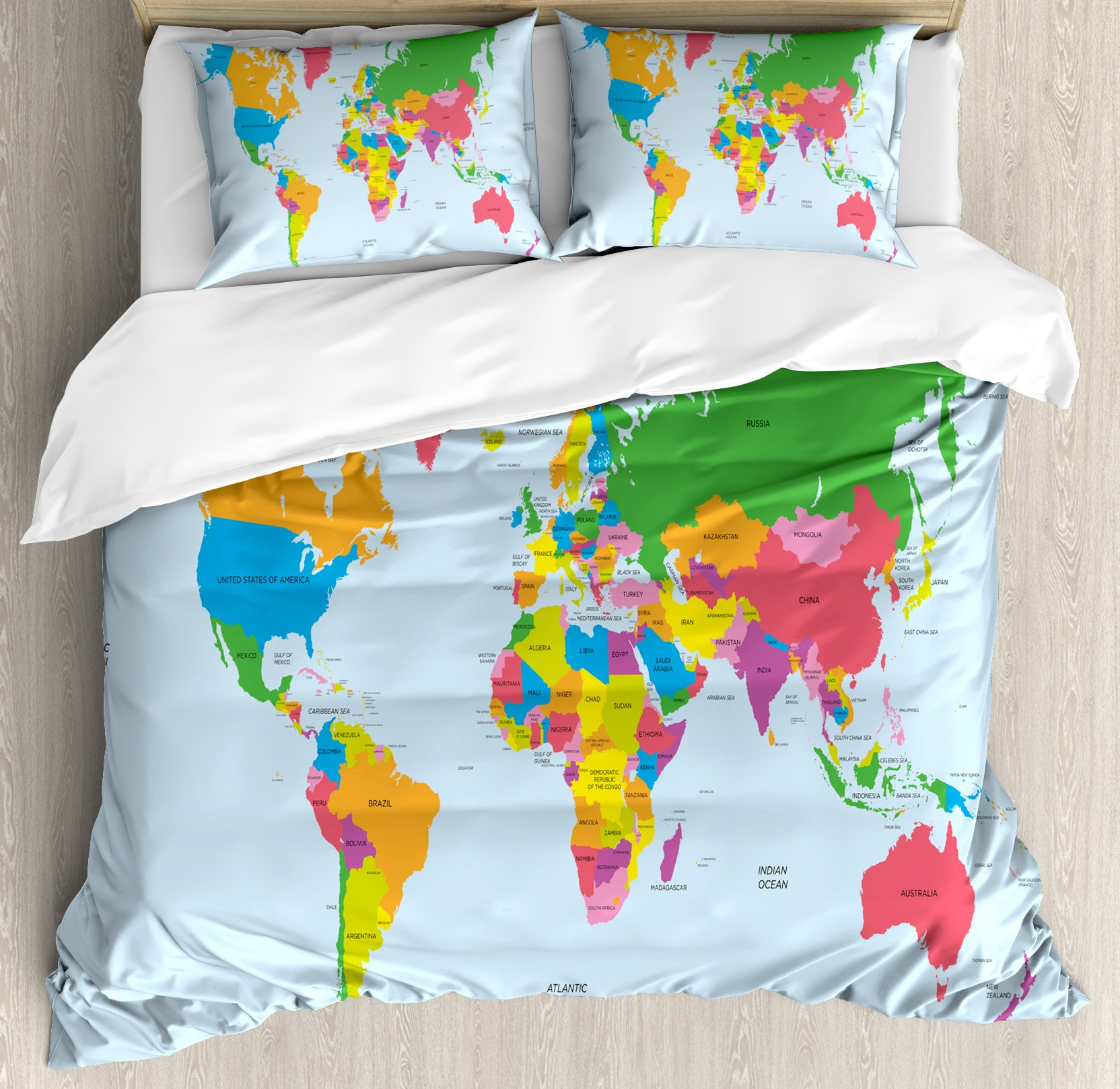 Map Queen Size Duvet Cover Set by Ambesonne, Classical Colorful Map of World in Political Style Travel Europe America Asia Africa, Decorative 3 Piece Bedding Set with 2 Pillow Shams, Multicolor by Ambesonne