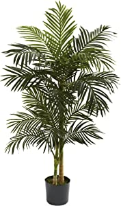 "Nearly Natural 5358 Golden Cane Palm Tree, 5-Feet, Green,62.5"" x 9"" x 9"""
