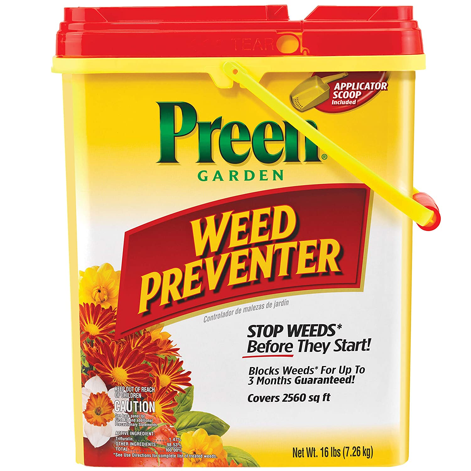 Preen 2464127 Garden Weed Preventer, 16 lb. Covers 2,560 sq. ft