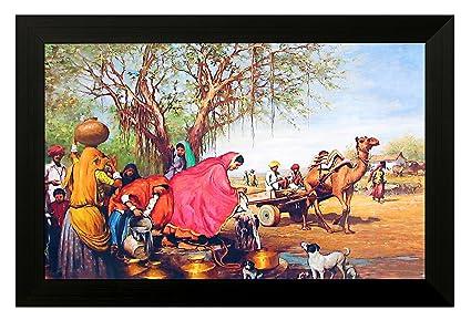 EK Number Rajasthani Village Design Framed PaintingSize 22CM X 3CM 30CM