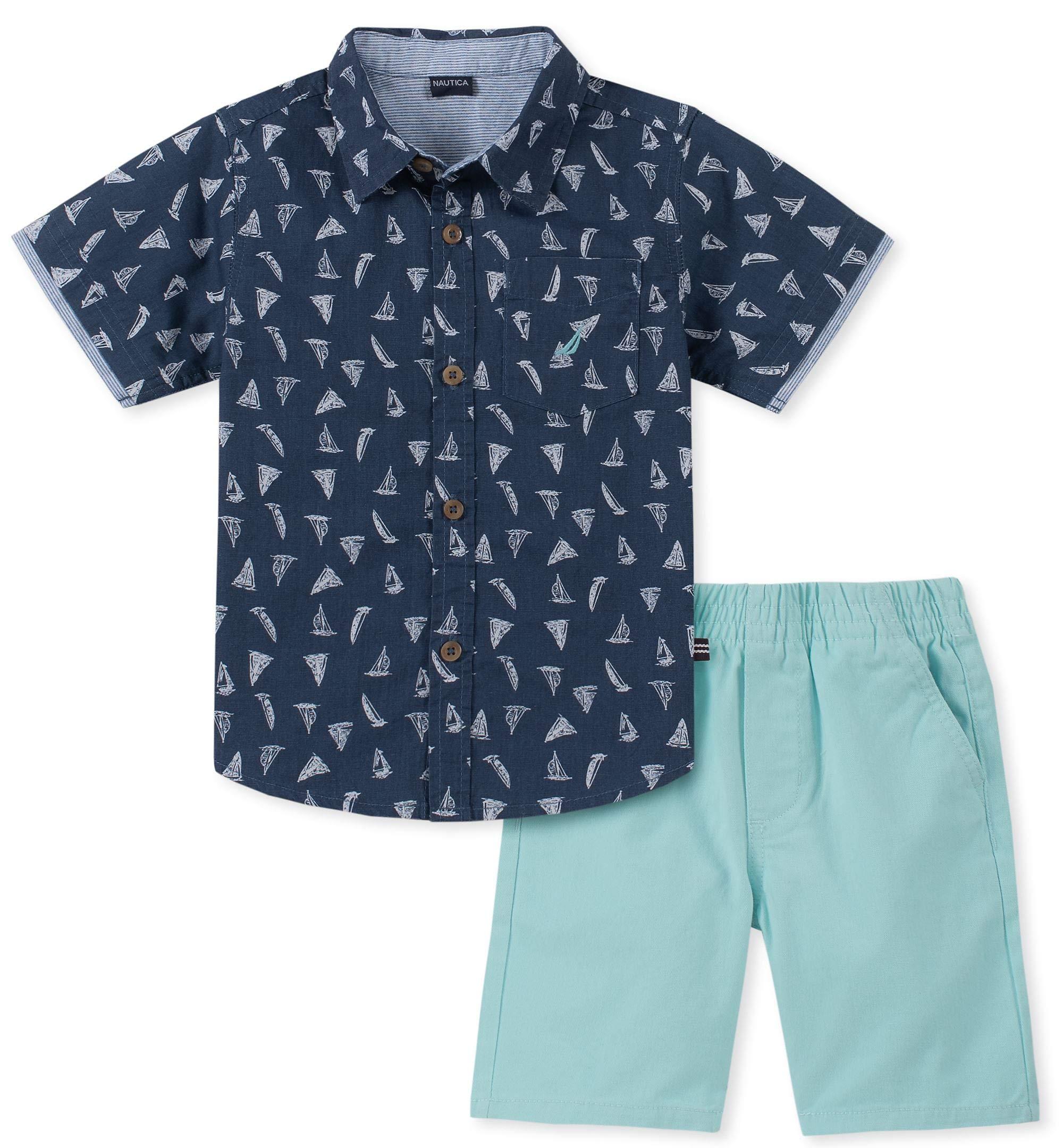 Nautica Sets (KHQ) Boys' Little 2 Pieces Shirt Shorts Set, Navy Print 6
