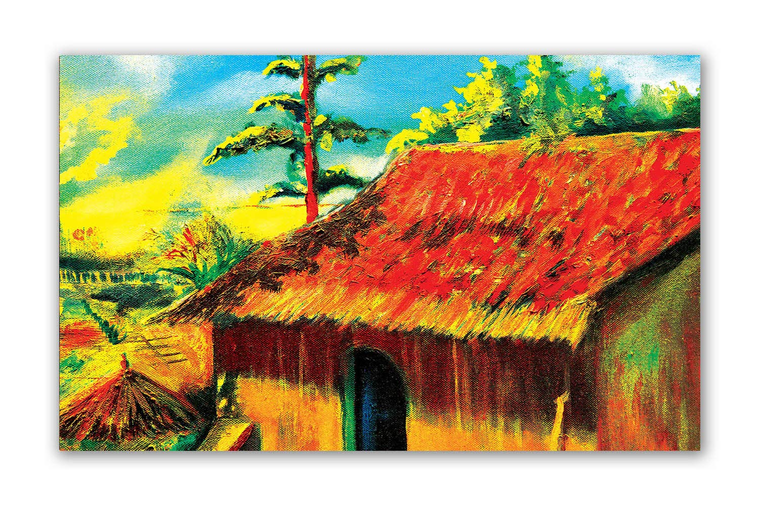 Tamatina Canvas Painting Simple Village Life Paintings For Living Room Paintings For Bedroom Canvas Wall Art Indian Canvas Paintings 97 Amazon In Home Kitchen