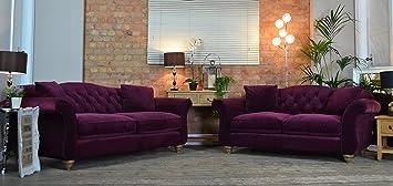 Incroyable Highcliffe 3 And 2 Seater Sofa Set   Plum / Purple Crushed Velvet