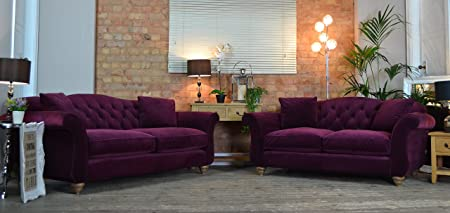 Exceptional Highcliffe 3 And 2 Seater Sofa Set Plum Purple Crushed Velvet