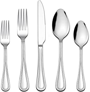 LIANYU 20-Piece Silverware Set, Stainless Steel Flatware Set for 4, Fancy Cutlery Eating Utensils with Pearled Edge, Home Kitchen Restaurant Tableware Include Knives Spoons Forks, Dishwasher Safe