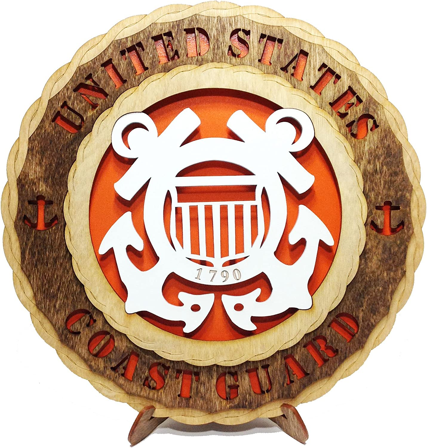 Coast Guard Armed Forces Military Decorative Laser Crafted Three Dimensional Wooden Wall Plaque