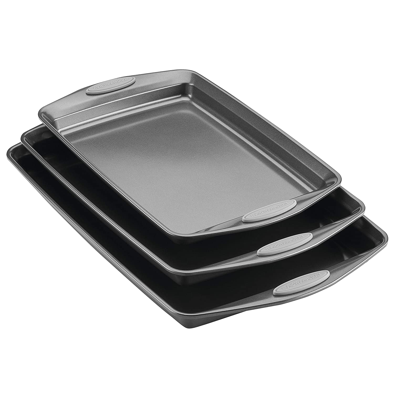 Rachael Ray Nonstick Bakeware Cookie Pan Set, 3-Piece, Gray with Sea Salt Gray Silicone Grips
