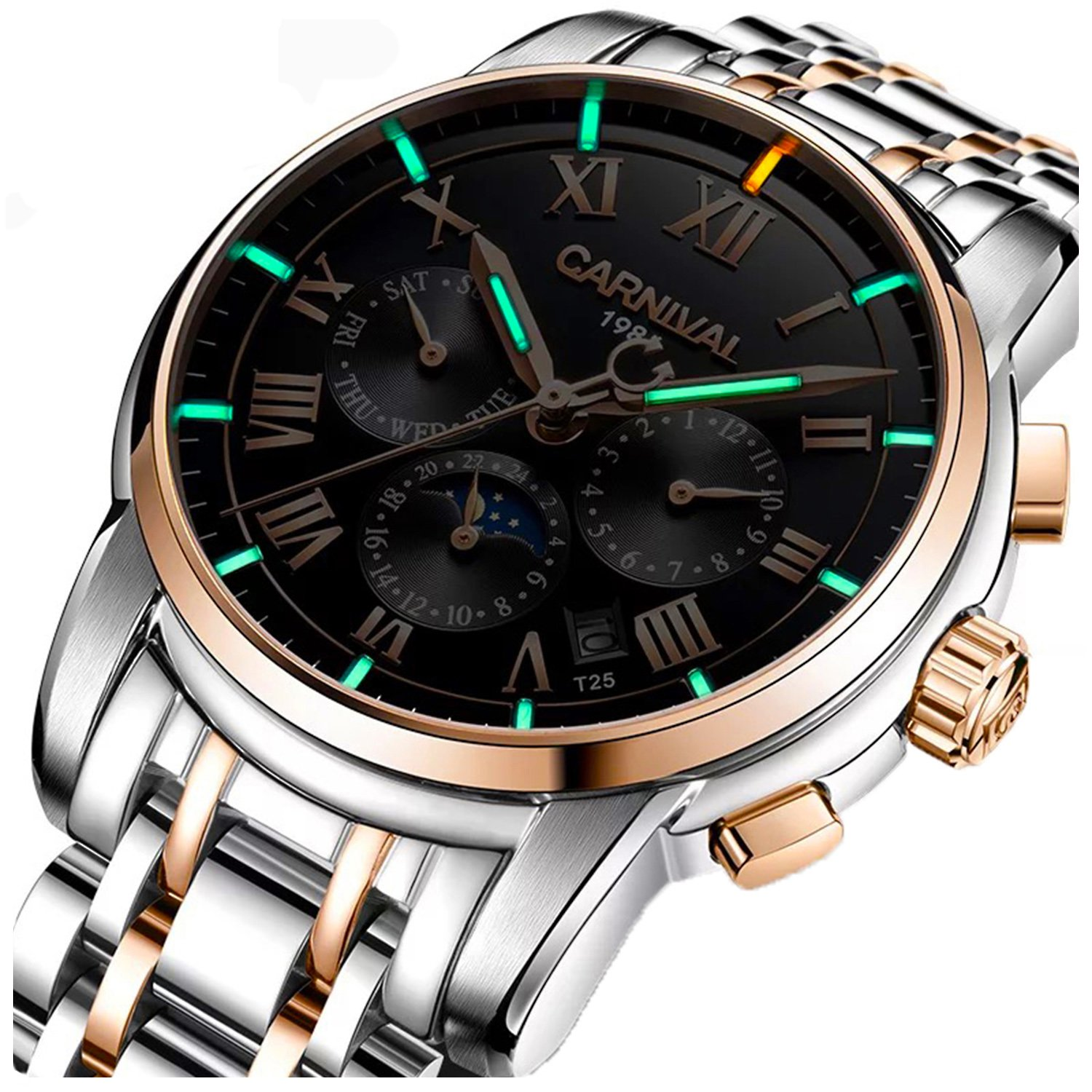 PASOY Carnival Men Tritium Luminous Watch Automatic Mechanical Tourbillon Date Black Dial Skeleton Watch