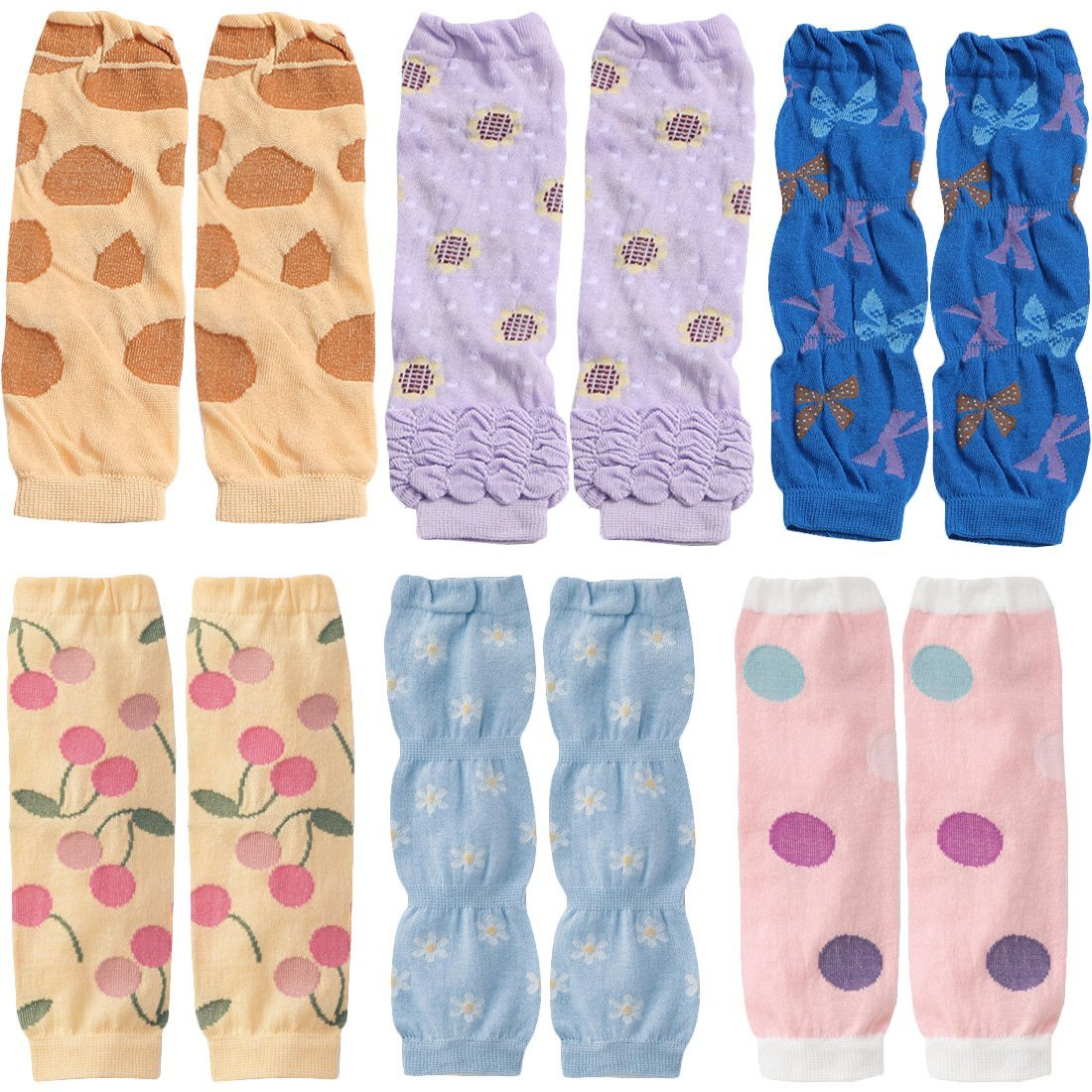 KF Baby 6pc Soft Thin Summer Knee Pads Socks Sleeve Leg Warmers Gift Value Pack kilofly
