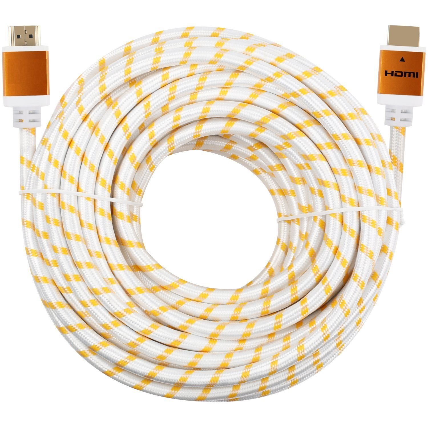 CableVantage Premium HDMI Cable 100FT 100feet V1.4 for 1080P 3D TV DVD PS4 PS3 Xbox One 360 HDTV Monitor Braided Nylon HDMI Cord, Gold Tip White by CableVantage
