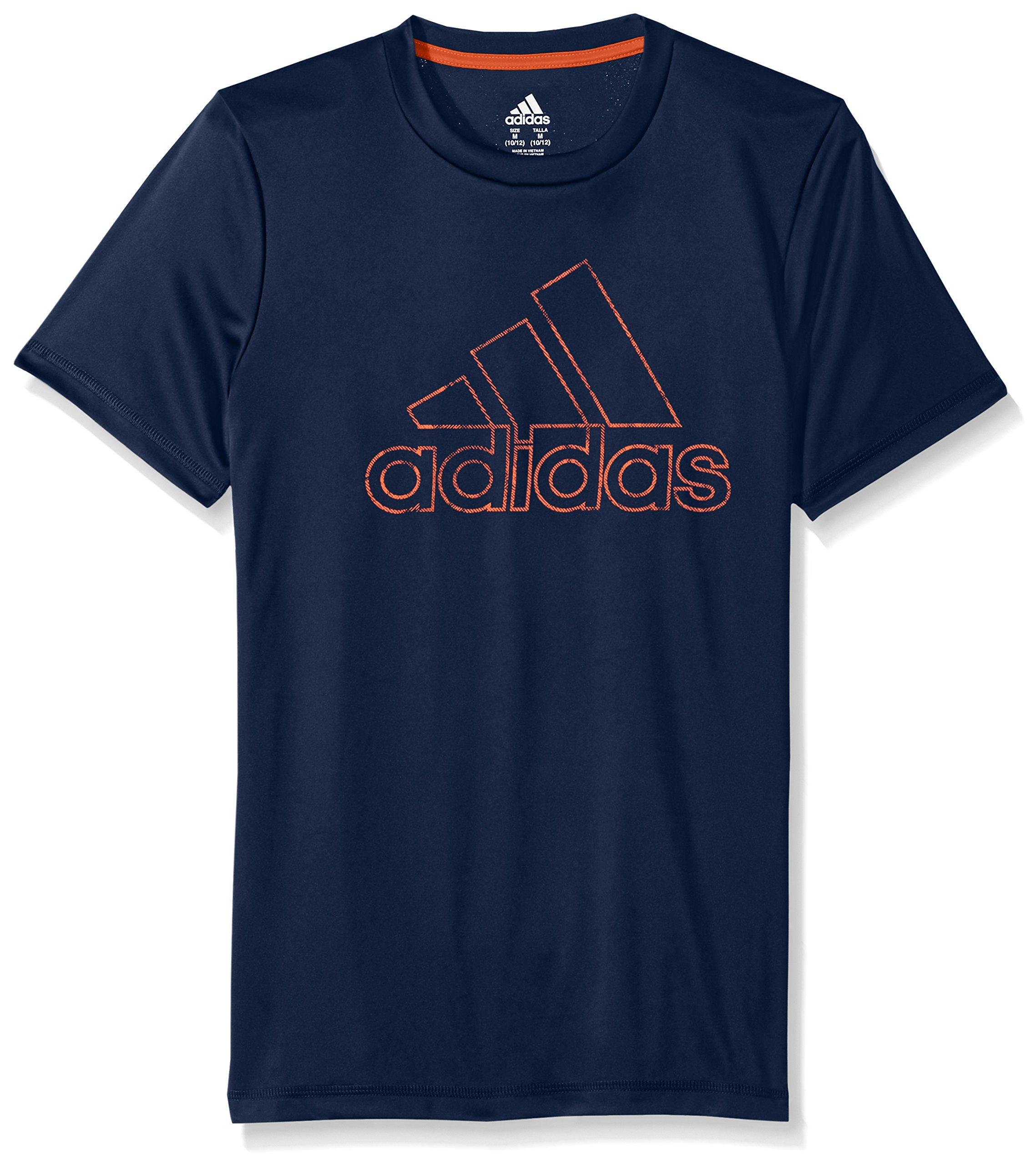 adidas Little Boys' Short Sleeve Logo Tee Shirt, Collegiate Blue, 6