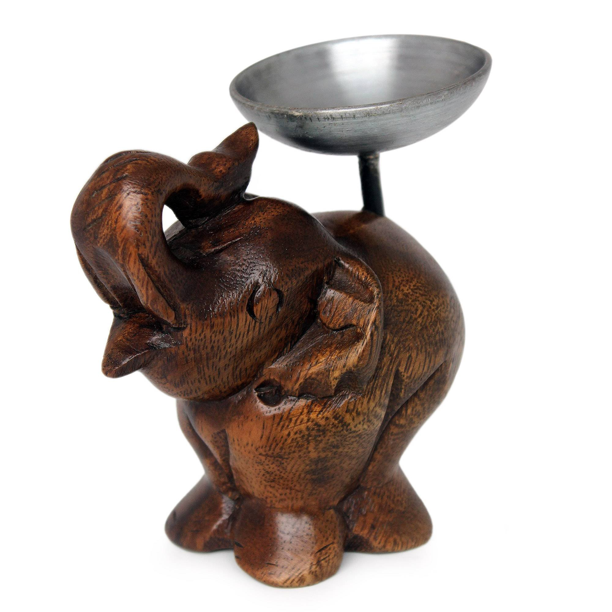 NOVICA Animal Themed Wood Mango Candle Holder, Brown, Elephant Of Old Siam'