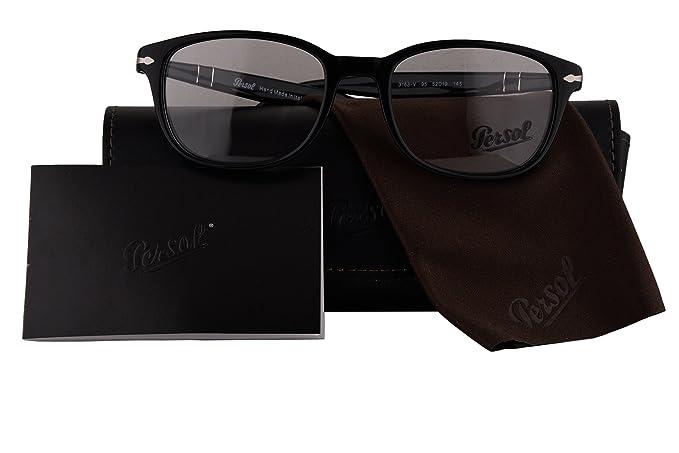 7a4cfd7b37 Persol Authentic Eyeglasses PO3163V Shiny Black w Clear Demo Lens 95 PO  3163-V