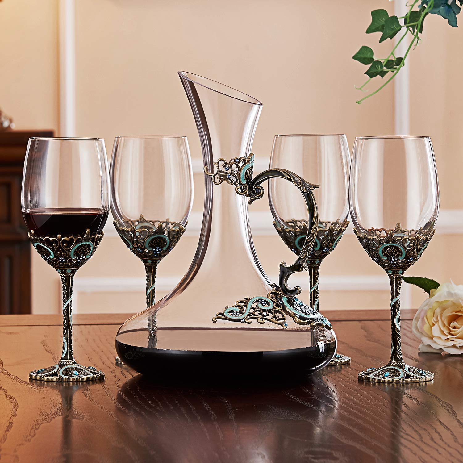 12oz Wine Glasses Set of 2 Hand Blown Crystal Wine Glasses Made of Lead-free Glass and Enamels