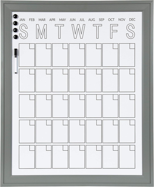 DesignOvation Bosc Framed Magnetic Dry Erase Vertical Monthly Calendar, 27.5x33.5, Gray