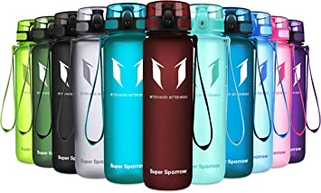Oferta amazon: Super Sparrow Botella de agua deportiva -350ml & 500ml & 1000ml - Sin BPA Talla 500ml-17oz