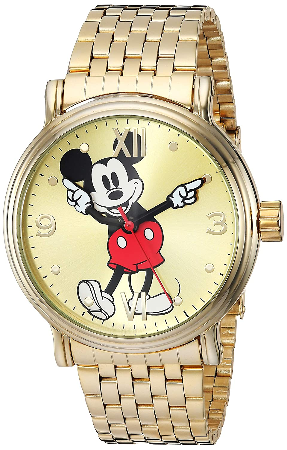 Disney Men s Mickey Analog-Quartz Watch with Stainless-Steel Strap, Gold, 20.7 Model WDS000685