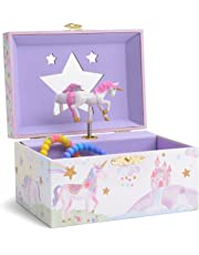 Jewelkeeper Girl's Musical Jewellery Storage Box with Spinning Unicorn, Glitter Rainbow and Stars Design, The Unicorn Tune