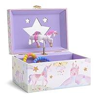 JewelKeeper - Portagioie Musicale con Unicorno Girevole, Arcobaleno e Stelle Glitterato - Melodia dell'Unicorno