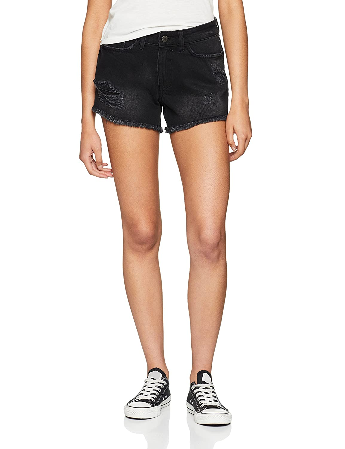 Noisy May Nmfran Nw Raw Edge Black Shorts Noos, Pantaloncini Donna 27002018