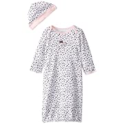 Little Me Baby Girls' Gown and Hat Set, White/Black 0-3 Months