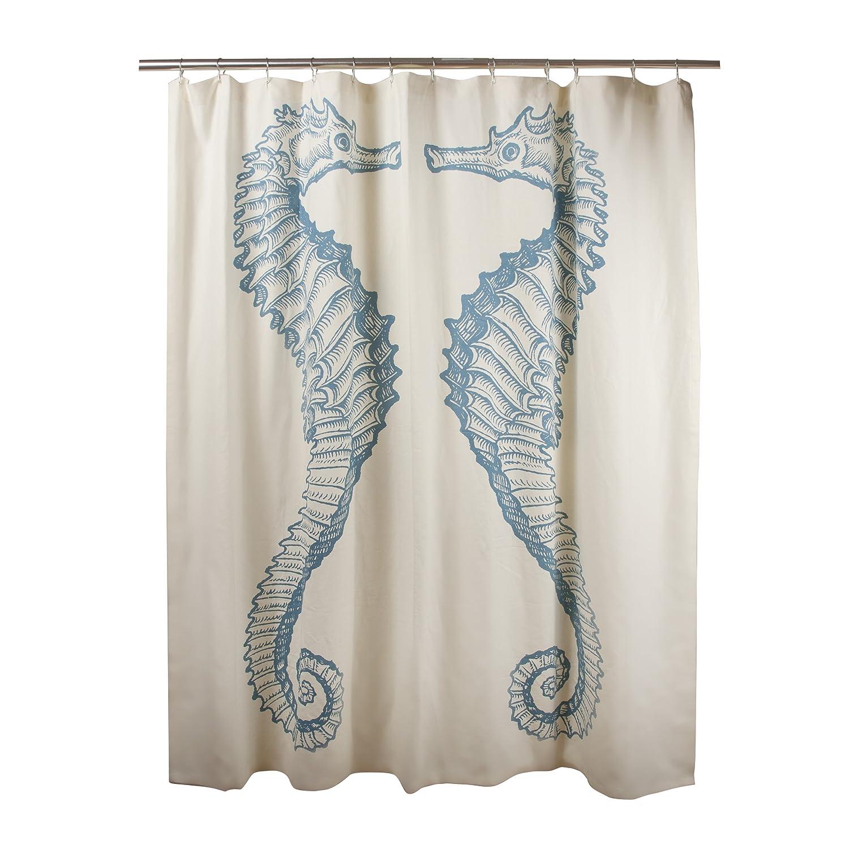 amazoncom thomaspaul cotton seahorse shower curtain inch  - amazoncom thomaspaul cotton seahorse shower curtain inch aqua home kitchen