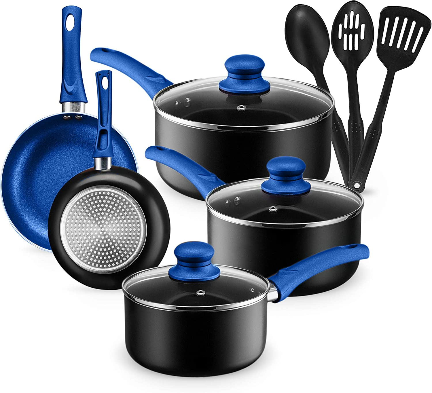 Chef's Star 11 Piece Pots and Pans Set Non-Stick Induction Ready 100% APEO, PFOA and PFOS Free (Blue)