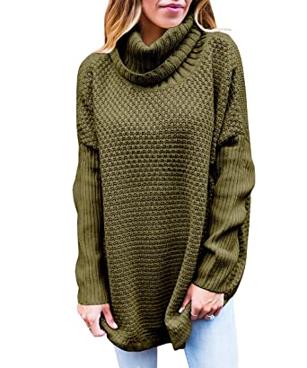 VOKY Women Cowl Neck Knit Sweater Chunky Oversized Loose Sweater ...