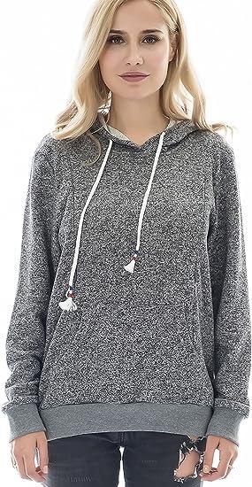 Bearsland Women's Maternity Winter Sporty Hoodie Breastfeeding Sweater Nursing Top,Grey Melange,XL
