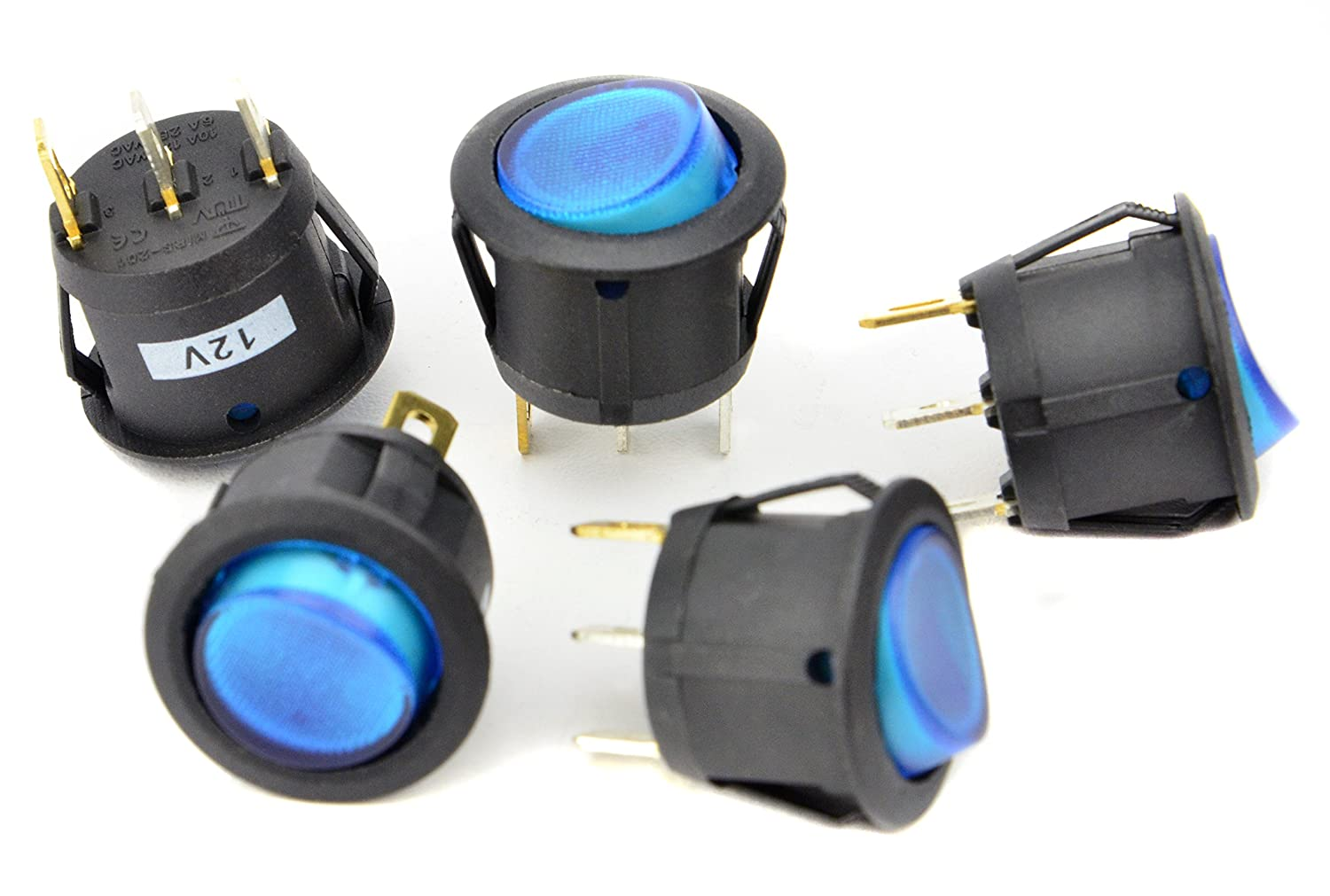 12 Volt Round 3 Prong Blue Led Rocker Switch Spst Toggle All Electronics Corp 12v 5 Pack Sports Outdoors