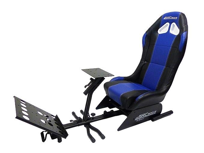 SUBSONIC SRC 500 S Blue Driving Cockpit Spielsitz - Rennsitz mit Halterungen für Lenkrad-und Pedale – Simulation Sitz für PS4