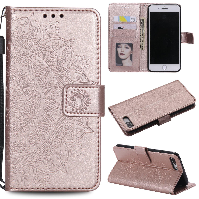 [iPhone 7 Plus] / [iPhone 8 Plus] Hülle Leder Totemblume, Lomogo Schutzhülle Brieftasche mit Kartenfach Klappbar Magnetverschluss Stoßfest Kratzfest Handyhülle Case für Apple iPhone 7Plus / 8Plus (5,5 Zoll) - LOHHA10524 Rosa Gold