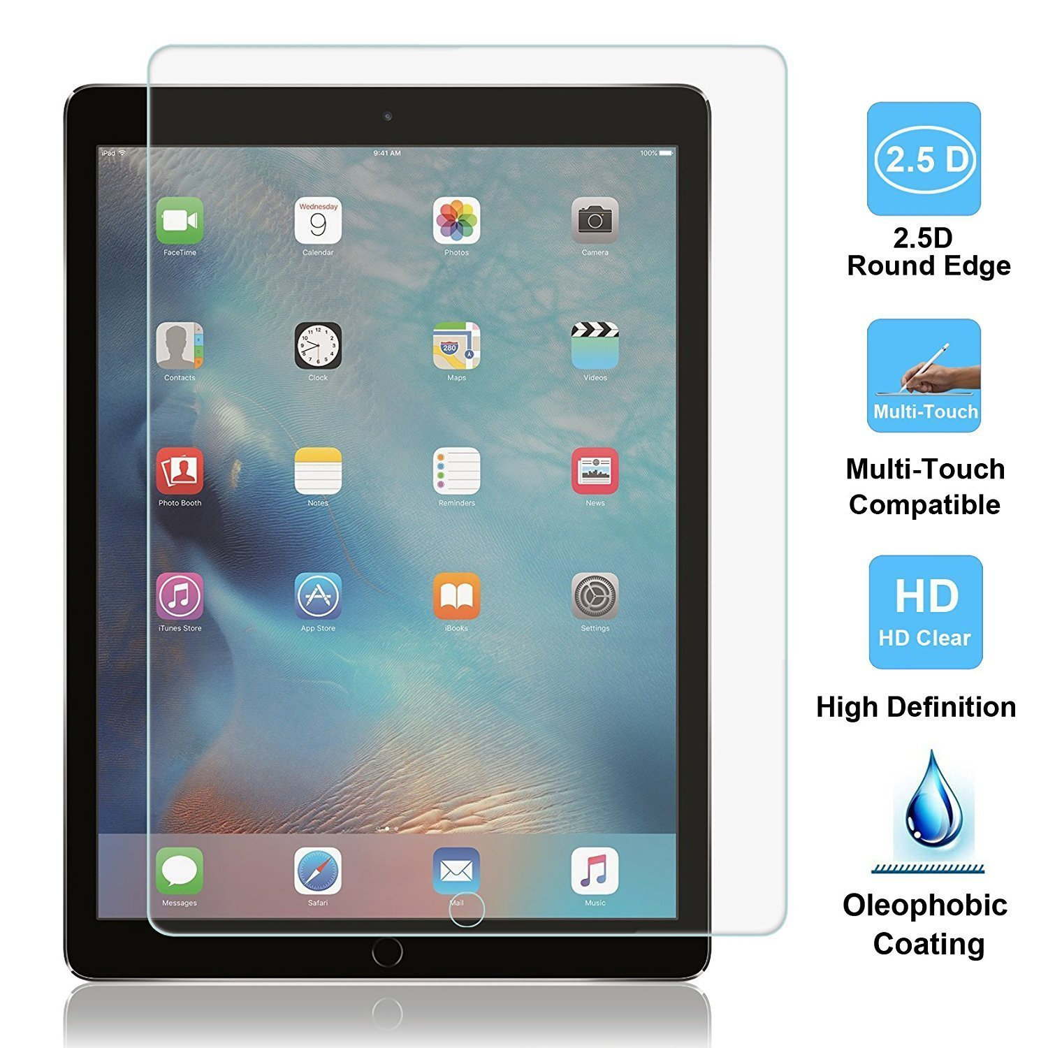 [2 PACK] iPad Pro 12.9 Screen Protector, SPARIN Multi-Touch Compatible / Bubble-Free / Anti-Scratch Tempered Glass Screen Protector For 12.9-Inch iPad Pro (2015, 2017 Release) by SPARIN (Image #4)