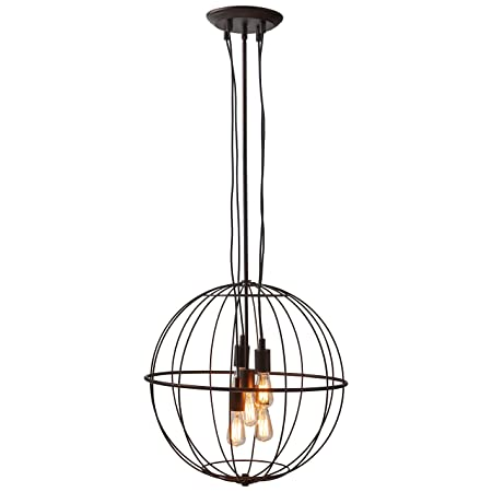 Stone Beam Industrial Chandelier With Bulbs, 35.5 -47.5 H, Oil-Rubbed Bronze