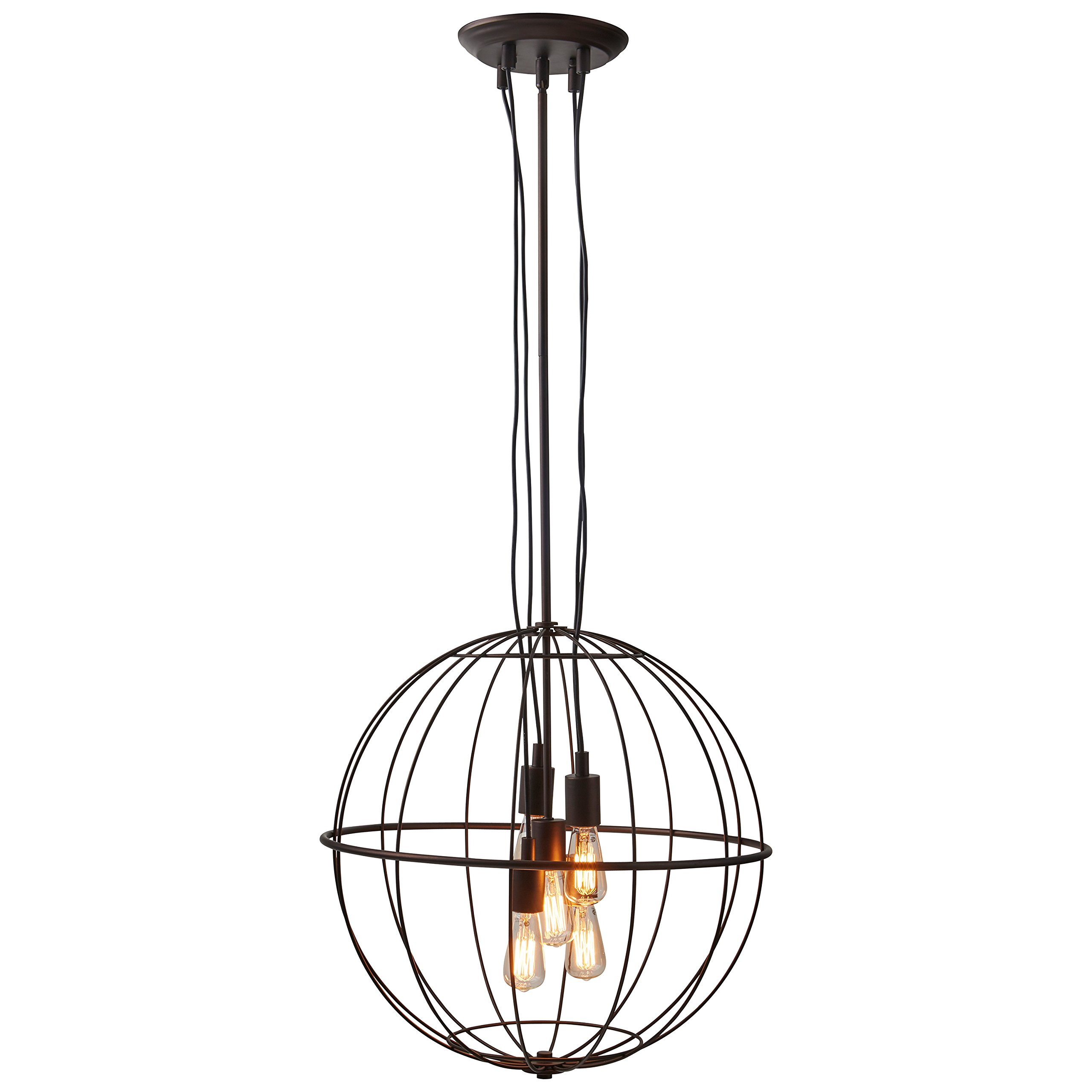 Stone & Beam Industrial Chandelier With Bulbs, 35.5''-47.5'' H, Oil-Rubbed Bronze