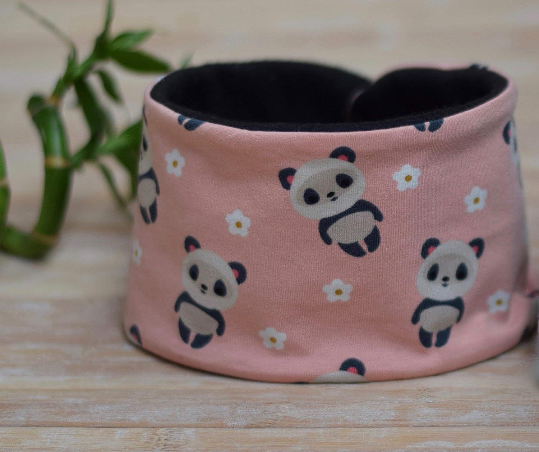Braga de cuello rosa con pandas ajustable con snaps de plástico ...
