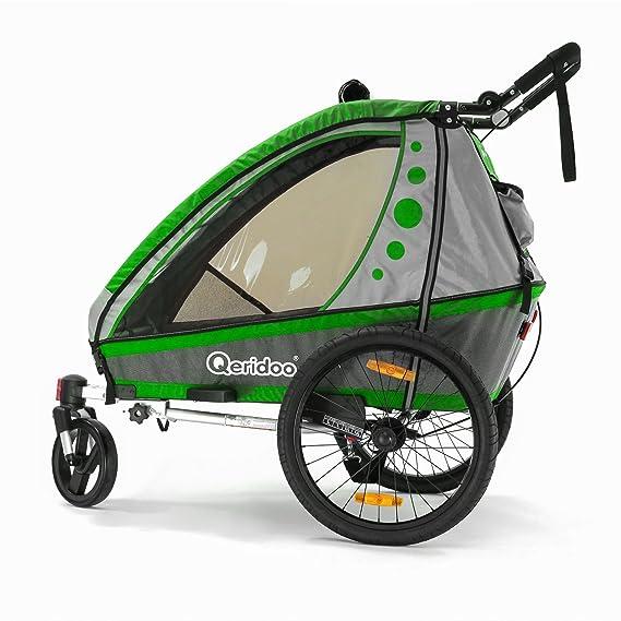 Qeridoo Jumbo 1 Niños de remolque de bicicleta (1 Niño), verde: Amazon.es: Deportes y aire libre