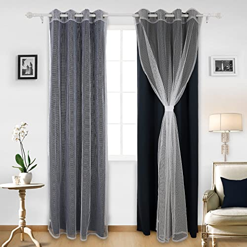 Deconovo Grommet Window Mix and Match Tulle White Sheer Curtains 2 Panels and 2 Thermal Insulated Blackout Curtians Navy Blue