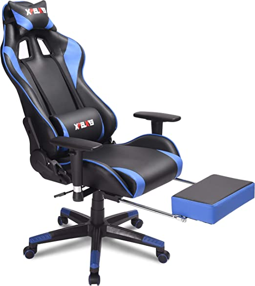 Amazon Com Xpelkys Computer Gaming Chair Home Office Desk Chair Video Gaming Chair Swivel Leather Ergonomic Chair With Padded Footrest And Cushion Height Adjustable Adjustable Armrests Blue Kitchen Dining