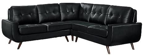 homelegance deryn midcentury modern sectional sofa with tufted back leather gel matched black