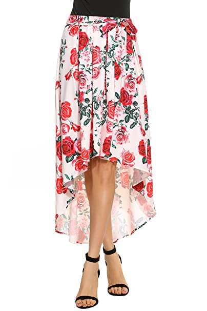 f3d418fcd49b Zeagoo High-Low Blue And Ivory Floral Print Pleated Long Skater Skirt Red S