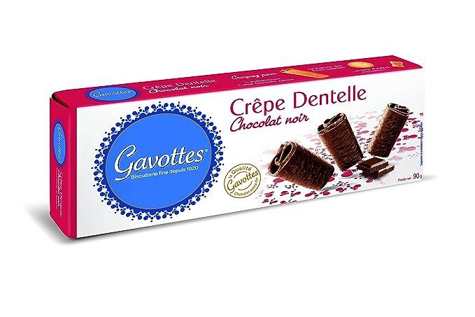 Gavottes - Crpe Chocolate Negro, 90 g -, Pack de 6