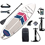 Aqua Plus 10ftx32inx6in Inflatable SUP for All Skill Levels Stand Up Paddle Board, Adjustable Paddle,Double Action Pump,ISUP