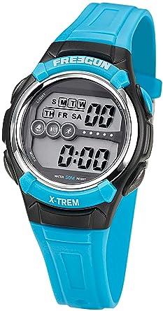 8ed9827a387ee Freegun - EE5164 - Montre Garçon - Quartz Digital - Cadran Multicolore - Bracelet  Plastique Bleu