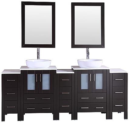 Bosconi Bathroom Vanities 84 Double Vanity Set With Oval Vessel