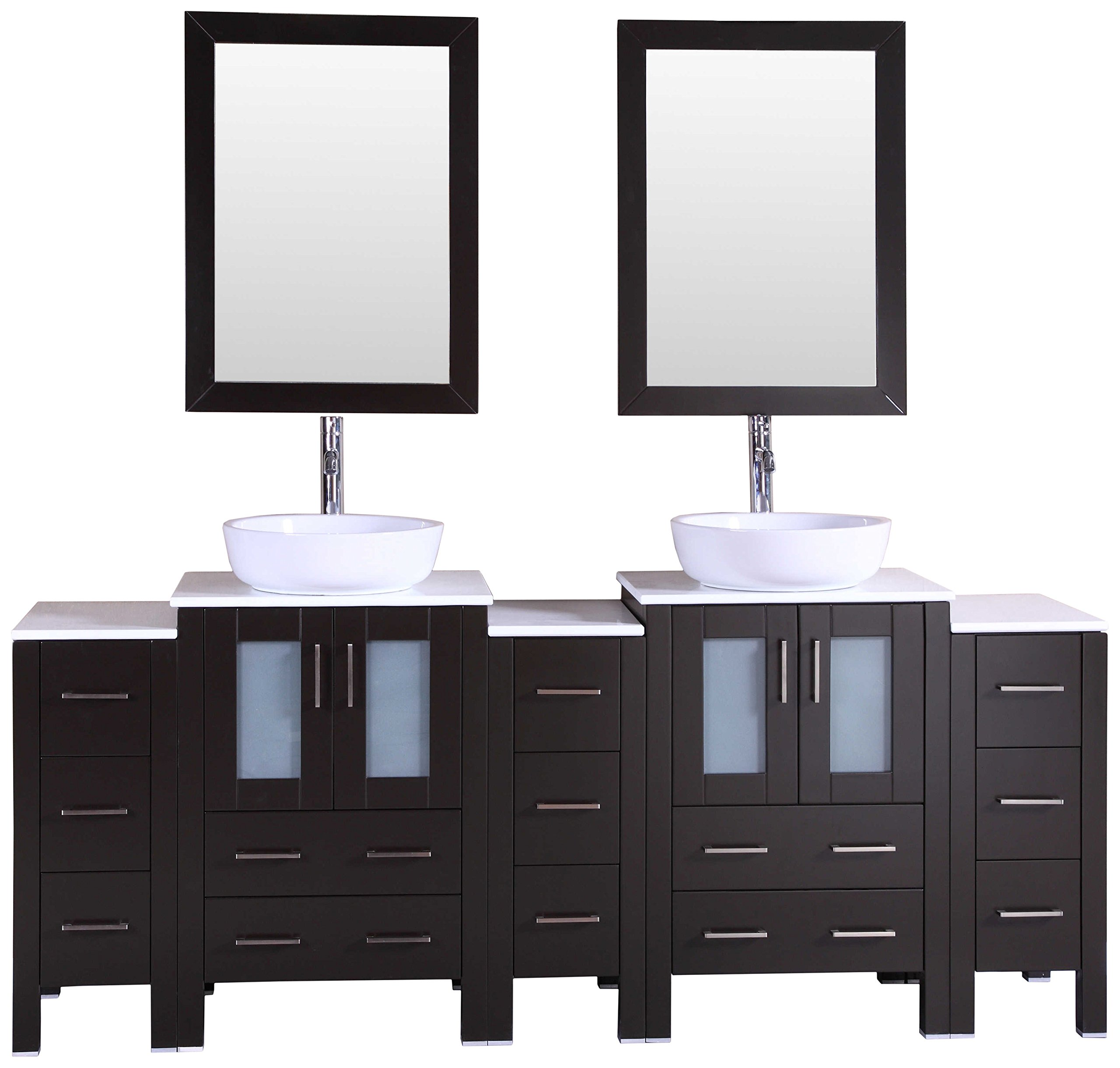 Bosconi Bathroom Vanities 84'' Double Vanity Set With Oval Vessel Sinks, Countertop, 2 Cabinets, 2 Mirrors, And 3 Side Cabinets, Espresso/Phoenix Stone